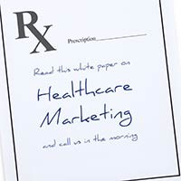 words Healthcare Marketing written on Rx prescription pad