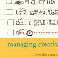 "words ""managing creativity"" on notepad with hand drawings"